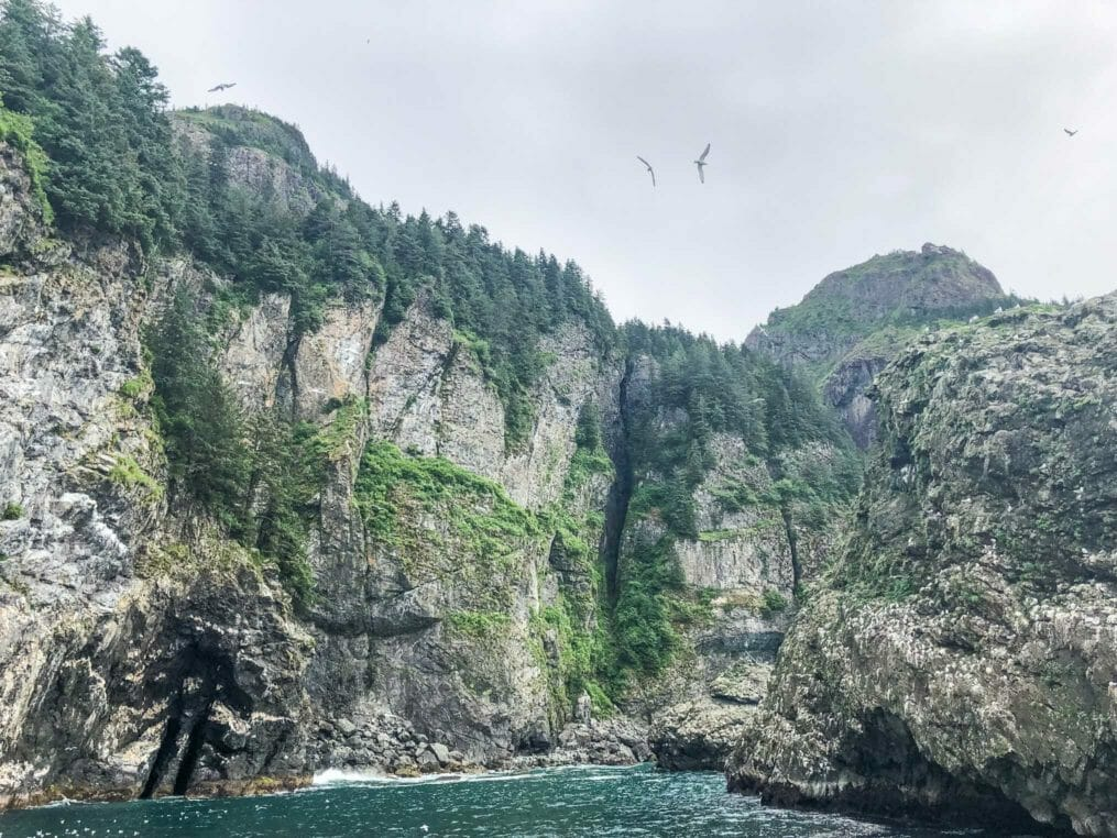 Cliffs from the ocean in Alaska