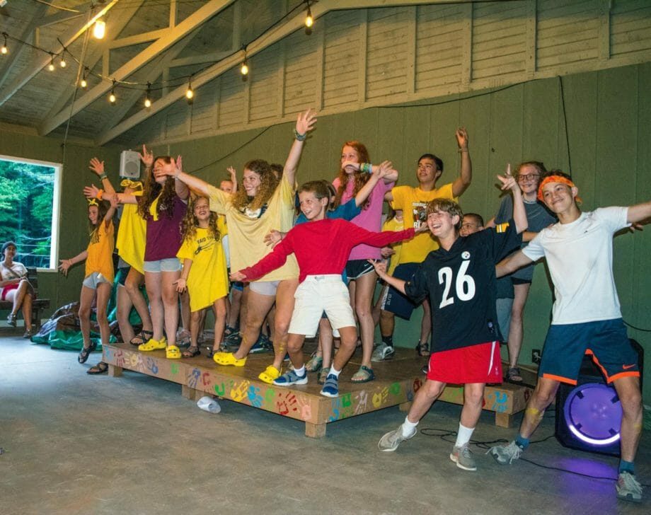 Overnight campers performing at a talent show