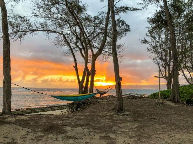 Sunset with a hammock and cross at the Hawaii Expedition