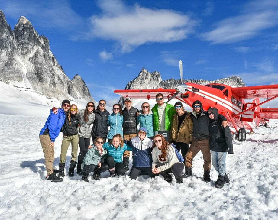 Campers in Alaska by a helicopter