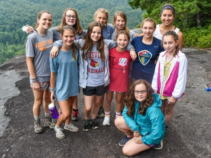 Girls hiking at the Hendersonville Adventure Day Camp