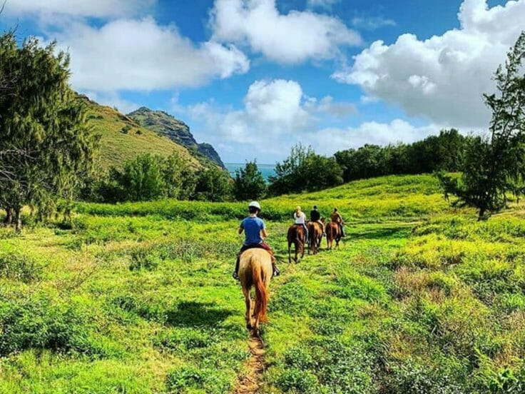 Camper horseback riding in Hawaii on an expedition trip
