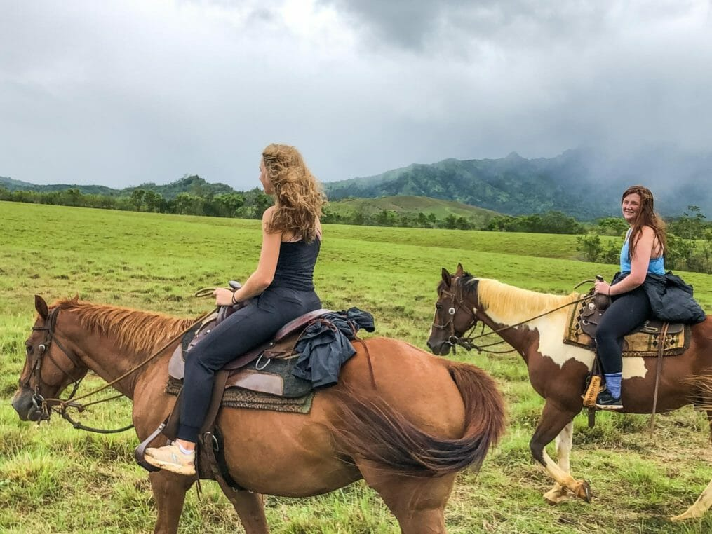 Explorers on the Hawaii Expedition horseback riding