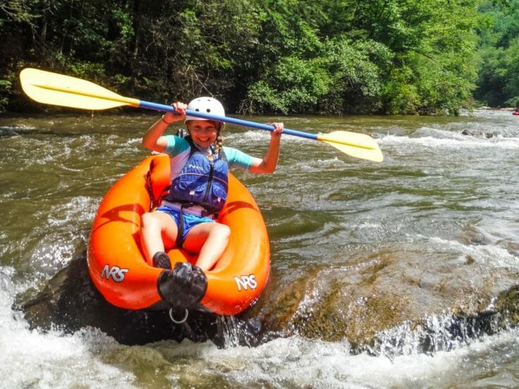 Camper kayaking at the Hendersonville Adventure Day Camp