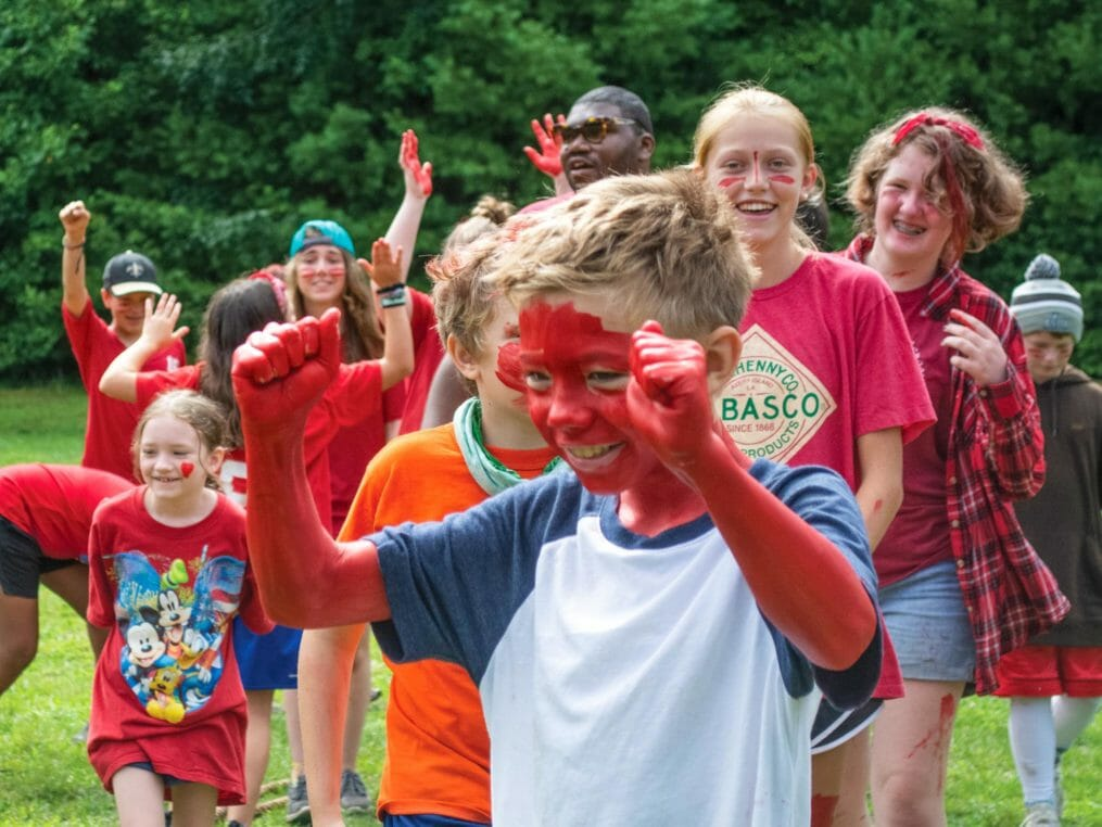 Campers at color war wearing red