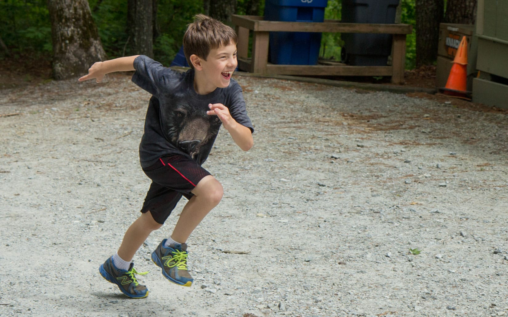 Camper running to Opening Day
