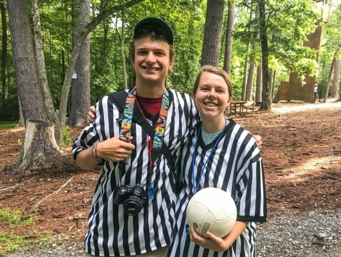 Two Kanuga staff members wearing ref shirts