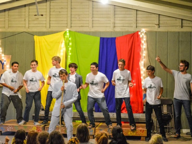 Campers performing at a talent show