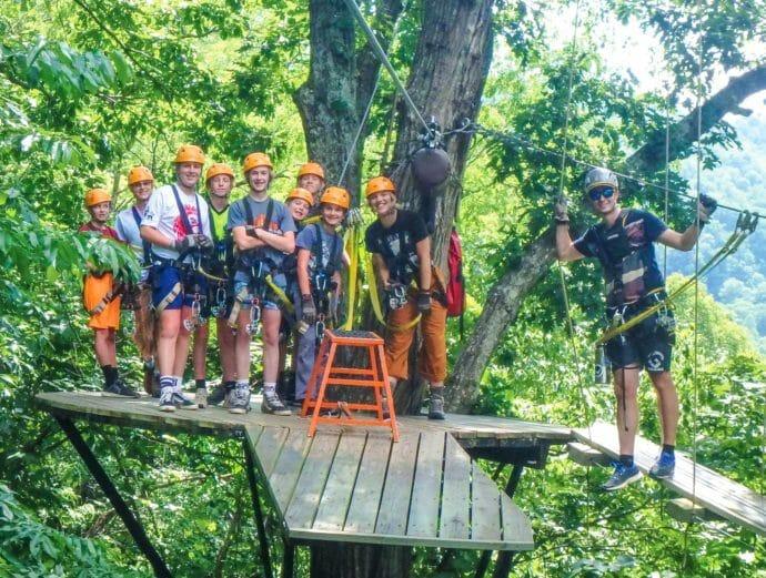 Campers on the zip line platform